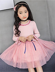 cheap -Girl's Daily Going out Solid Floral Dress, Cotton Polyester Spring Summer Long Sleeves Cute Active Princess Green Blushing Pink