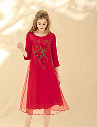 cheap -8CFAMILY Women's Street chic / Boho Loose Dress - Floral Flower