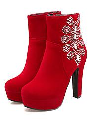 baratos -Mulheres Sapatos Pele Nobuck Outono / Inverno Conforto / Inovador / Botas da Moda Botas Sem Salto Dedo Apontado Botas Curtas / Ankle