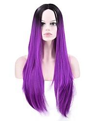 billiga -Syntetiska peruker Rak Syntetiskt hår Ombre-hår / Afro-amerikansk peruk Lila Peruk Dam Lång Utan lock Lila