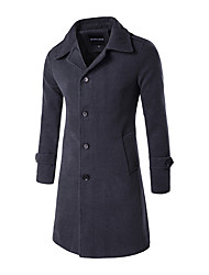 cheap -Men's Long Wool Overcoat - Solid Colored Shirt Collar / Long Sleeve