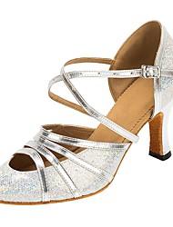 Недорогие -Жен. Обувь для модерна Искусственная кожа / Лак Сандалии / На каблуках Каблуки на заказ Персонализируемая Танцевальная обувь Серебряный