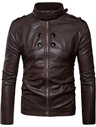 cheap -Men's Sports & Outdoors Leather Jacket-Solid Colored Stand