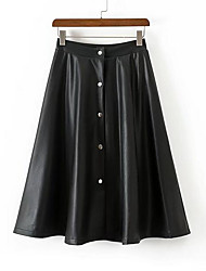 cheap -Women's Casual/Daily Knee-length Skirts,Simple Pencil PU Cotton Solid Spring/Fall