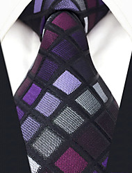 Недорогие -Муж. Для офиса Классический Галстук - Современный Искусственный шёлк, Контрастных цветов Шахматка Жаккард