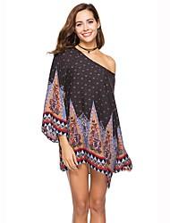 abordables -Mujer Playa Boho Corte Ancho Vestido Estampado Bloques