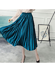 cheap -Women's A Line Skirts - Solid Colored Pleated