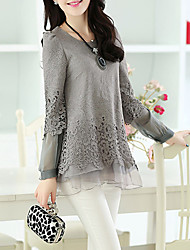 cheap -Women's Going out Casual Street chic Blouse - Solid Colored Lace Cut Out