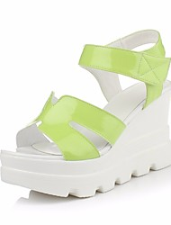 cheap -Women's Shoes Patent Leather Spring Summer Comfort Sandals Wedge Heel for Casual White Green