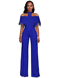 cheap -Women's Vintage Jumpsuit - Solid, Lace Cut Out Embroidered High Waist Off Shoulder