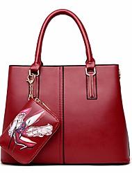 economico -Donna Sacchetti PU (Poliuretano) Tote Set di borsa da 2 pezzi Cerniera per Casual Inverno Blu Oro Nero Rosso
