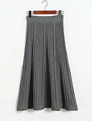 cheap -Women's Daily Midi Skirts,Casual Swing Linen Solid Winter Autumn/Fall