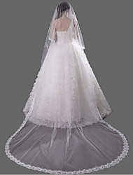 cheap -One-tier Accessories Lace Applique Edge Wedding Veil Cathedral Veils 53 Lace Lace Tulle