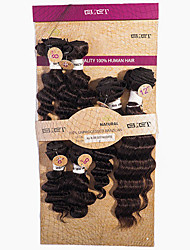 Недорогие -Бразильские волосы Крупные кудри Не подвергавшиеся окрашиванию Волосы Уток с закрытием Ткет человеческих волос Расширения человеческих волос