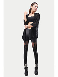 billige -Dame Retro Bomuld Solid Ensfarvet Legging,Solid Sort