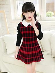 abordables -Robe Fille de Quotidien Tartan Coton Polyester Printemps Toutes les Saisons Manches Longues Mignon Rouge Gris Jaune