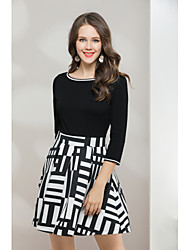 cheap -Women's Daily Going out Cute Casual Street chic Sweater Dress,Solid Striped Round Neck Knee-length 3/4 Sleeve Rayon Polyester Nylon Spring