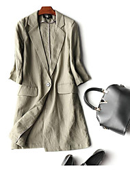 cheap -Women's Work Ordinary Trench Coat-Solid Colored