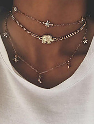 cheap -Women's Bohemian Star Rhinestone Layered Necklace - Bohemian Fashion European Elephant Star Gold Silver Necklace For Street