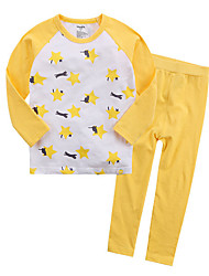 cheap -Unisex Print Sleepwear, Cotton Long Sleeves Simple Yellow Royal Blue