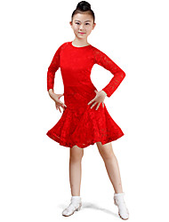 cheap -Latin Dance Dresses Performance Cotton Lace Pattern / Print Ruching Long Sleeves High Dress