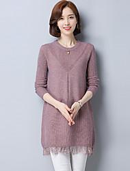 economico -Standard Pullover Da donna-Casual Tinta unita Rotonda Maniche lunghe Cashmere Inverno Spesso strenchy