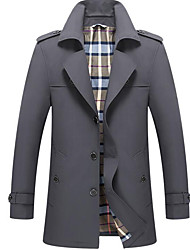 cheap -Men's Going out Casual/Daily Street chic Winter Fall Long Trench coat,Solid Peter Pan Collar Polyester Formal Style