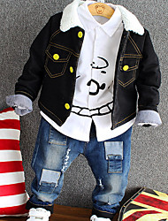 Недорогие -Мальчики Набор одежды Повседневные Хлопок Горошек Зима Длинные рукава Черный