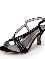preiswerte -Damen Schuhe Seide Frühling Sommer Pumps Hochzeit Schuhe Niedriger Heel Peep Toe Strass Schnalle für Hochzeit Party & Festivität Schwarz