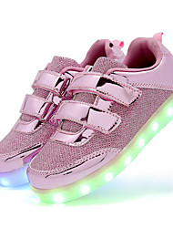 cheap -Girls' Shoes Sparkling Glitter / Synthetic Spring Comfort / Light Up Shoes Sneakers Hook & Loop / LED for Gold / Silver / Pink