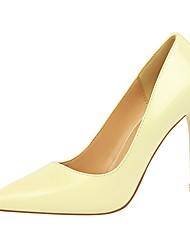 Недорогие -Жен. Обувь Дерматин Весна Осень Удобная обувь Обувь на каблуках На шпильке Заостренный носок для Для вечеринки / ужина Серый Желтый