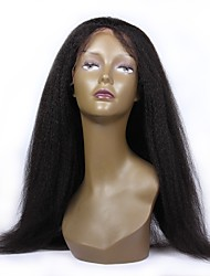 cheap -Virgin Human Hair Glueless Lace Front Lace Front Wig Brazilian Hair kinky Straight Wig 130% 150% 180% Density with Baby Hair African American Wig Women's Short Medium Length Human Hair Lace Wig