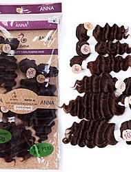 cheap -Brazilian Hair Straight / Deep Wave Virgin Human Hair Hair Weft with Closure Human Hair Weaves Medium Brown Human Hair Extensions