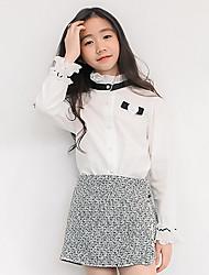preiswerte -Mädchen Hemd Einfarbig Polyester Ganzjährig Langärmelige Retro Weiß