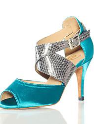 preiswerte -Schuhe für den lateinamerikanischen Tanz Kunstleder Sneaker Randverzierung Stöckelabsatz Maßfertigung Tanzschuhe Schwarz / Knackmandel /