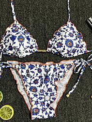 abordables -Femme Bohème Sans Bretelles Bikinis - Imprimé, Fleur