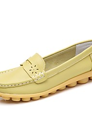 cheap -Women's Shoes Leatherette Spring Fall Moccasin Loafers & Slip-Ons Wedge Heel for Casual Dress Royal Blue Light Yellow Yellow Black