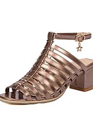 preiswerte -Damen Schuhe Kunstleder Sommer Pumps Sandalen Blockabsatz Offene Spitze für Normal Kleid Schwarz Silber Rot Khaki