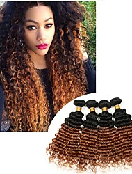 cheap -Brazilian Hair Deep Wave Virgin Human Hair Natural Color Hair Weaves 3 Bundles 8-24 inch Human Hair Weaves Odor Free / Silky / Extention Black / Black / Medium Auburn Human Hair Extensions