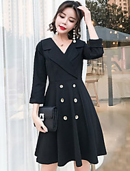 cheap -Women's Going out Vintage Street chic Little Black Dress,Solid V Neck Above Knee Long Sleeve Cotton Nylon All Season Mid Rise