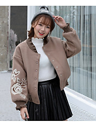 cheap -Women's Going out Vintage Winter Coat,Floral Print Peaked Lapel Long Sleeve Short Others Oversized