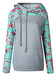 cheap -Women's Petite Casual/Daily Simple Hoodie Floral Color Block Hooded Hoodies Micro-elastic Cotton Polyester Long Sleeve Winter Fall