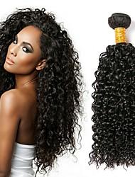 Недорогие -1 комплект Перуанские волосы Kinky Curly 8A Натуральные волосы Человека ткет Волосы Ткет человеческих волос Расширения человеческих волос / Кудрявый вьющиеся