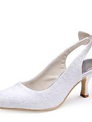 preiswerte -Damen Schuhe Spitze Tüll Frühling Sommer Pumps Hochzeit Schuhe Niedriger Heel Spitze Zehe Schleife für Hochzeit Party & Festivität Weiß