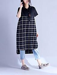 cheap -Women's Casual/Daily Active Spring Shirt,Solid Check Shirt Collar Short Sleeves Cotton Acrylic Thin