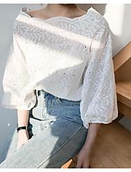 Недорогие -Для женщин Повседневные Рубашка Вырез лодочкой,На каждый день Однотонный Хлопок