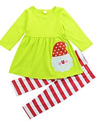 cheap -Girls' Going out Holiday Solid Striped Patchwork Clothing Set, Cotton All Seasons Long Sleeves Cute Active Light Green