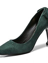 cheap -Women's Shoes Flocking PU Spring Fall Comfort Heels High Heel Pointed Toe for Casual Green Red Black