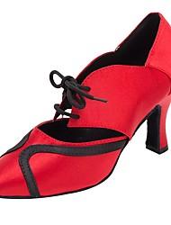 Недорогие -Современный Сатин Сандалии На каблуках Профессиональный стиль Каблуки на заказ Темно-красный Персонализируемая