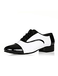 """cheap -Men's Latin Real Leather Oxford Outdoor Chunky Heel Black/White 1"""" - 1 3/4"""" Customizable"""